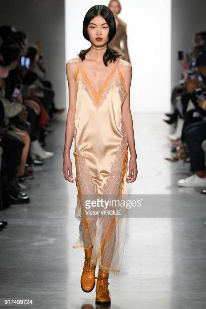 Model walks the runway at the Jonathan Simkhai Ready to Wear Fall/Winter 2018-2019 fashion show during New York Fashion Week on February 10, 2018 in...