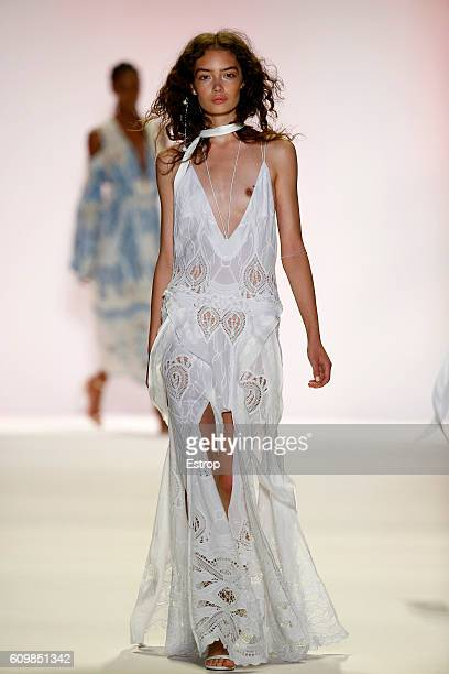 A model walks the runway at the Jonathan Simkhai show at The Arc Skylight at Moynihan Station on September 10 2016 in New York City
