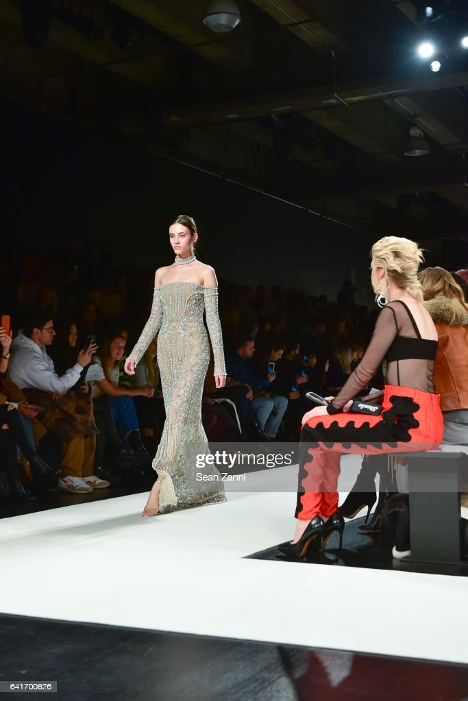 A model walks the runway at the Jonathan Simkhai show during New York Fashion Week at Skylight Clarkson Sq on February 11, 2017 in New York City.