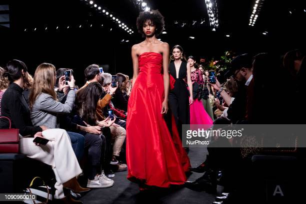 A model walks the runway at the Jorge Vazquez fashion show during the Mercedes Benz Fashion Week Autumn/Winter 20192020 at Ifema in Madrid Spain...