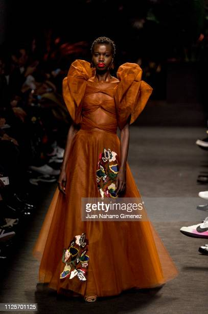 A model walks the runway at the Jorge Vazquez fashion show during the Mercedes Benz Fashion Week Autumn/Winter 20192020 at Ifema on January 28 2019...