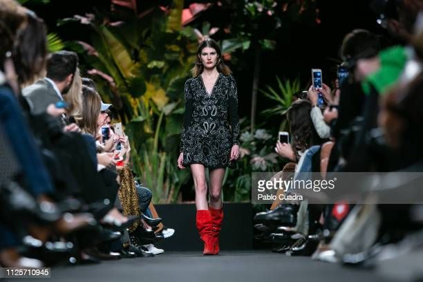 Model walks the runway at the Jorge Vazquez fashion show during the Mercedes Benz Fashion Week Autumn/Winter 2019-2020 at Ifema on January 28, 2019...