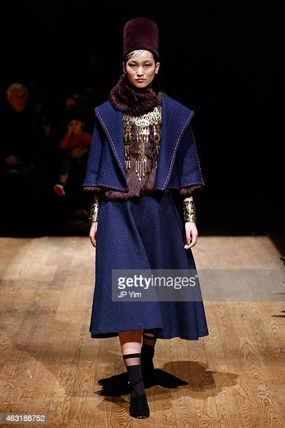 A model walks the runway at the Jose Natori Fall 2015 Collection during MercedesBenz Fashion Week at Dimenna Center for Classical Music on February...