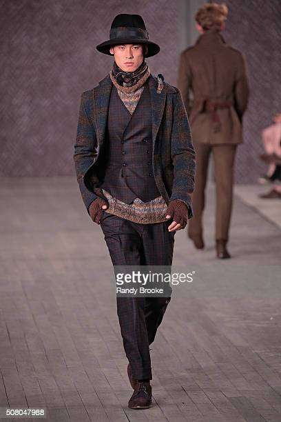 Model walks the runway at the Joseph Abboud Runway Show during New York Fashion Week Men's Fall/Winter 2016 at Skylight at Clarkson Sq on February 2,...