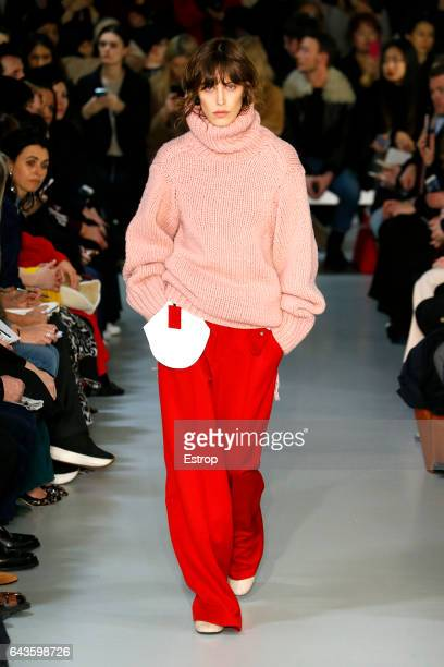 A model walks the runway at the Joseph deigned by Louise Trotter show during the London Fashion Week February 2017 collections on February 20 2017 in...