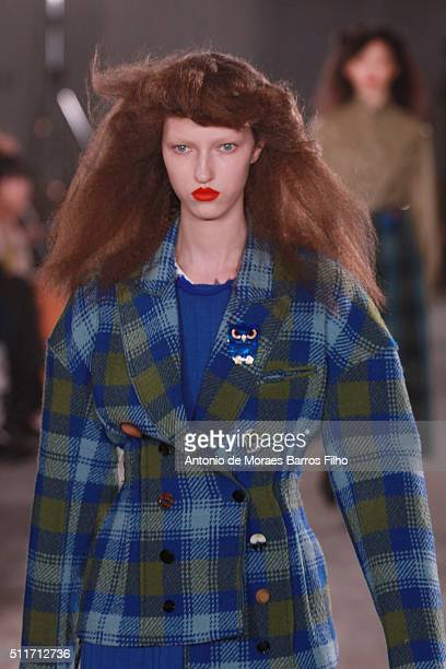 A model walks the runway at the Joseph show during London Fashion Week Autumn/Winter 2016/17 at 180 The Strand on February 22 2016 in London England