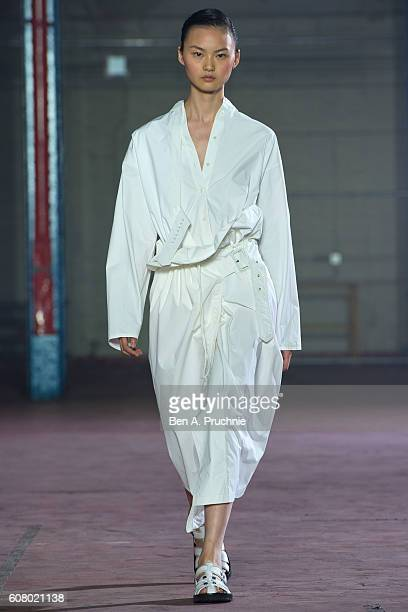 A model walks the runway at the Joseph show during London Fashion Week Spring/Summer collections 2017 on September 19 2016 in London United Kingdom