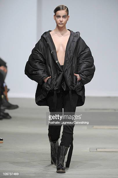 A model walks the runway at the Josephus Thimister fashion show during Paris Fashion Week on March 1 2011 in Paris France