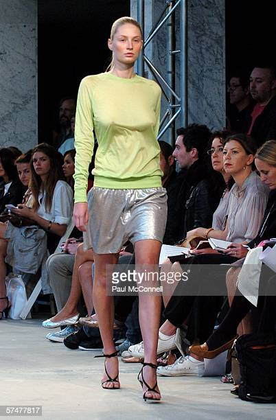 Model walks the runway at the Josh Goot collection show at Chifley Square during Mercedes Australian Fashion Week on April 28, 2006 in Sydney,...