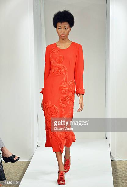 A model walks the runway at the JSong Way spring 2013 fashion show during MercedesBenz Fashion Week on September 5 2012 in New York City