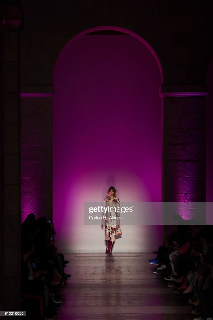 A model walks the runway at the Juan Vidal fashion show during the Mercedes Benz Fashion Week Autumn/Winter 2018 at the Casa de Correos on January 25, 2018 in Madrid, Spain.
