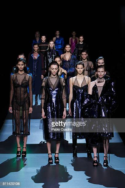 A model walks the runway at the Juan Vidal show during the MercedesBenz Madrid Fashion Week Autumn/Winter 2016/2017 at Ifema on February 20 2016 in...