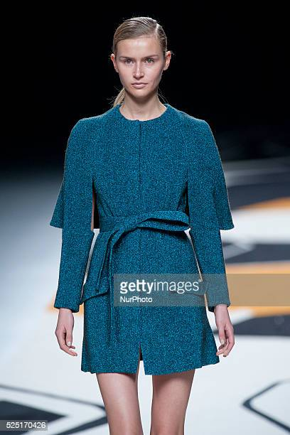 Model walks the runway at the Juanjo Oliva show during Madrid Fashion Week Fall/Winter 2015/16 at Ifema on February 9,2015 in Madrid,Spain Photo:...