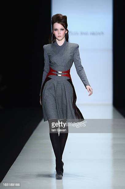 A model walks the runway at the Julia Dalakian show during MercedesBenz Fashion Week Russia Fall/Winter 2013/2014 at Manege on April 1 2013 in Moscow...