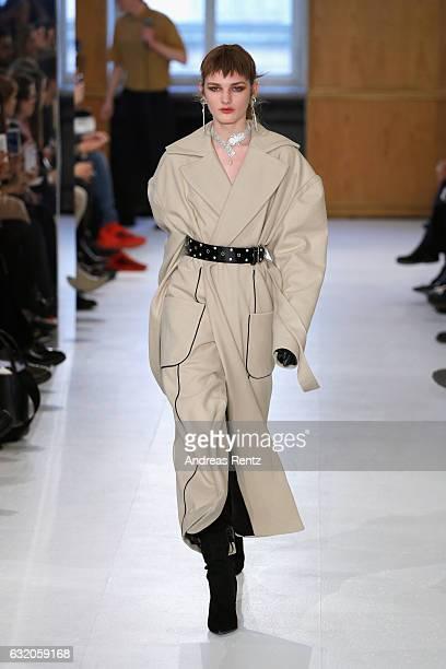 A model walks the runway at the Julia Seemann defile during the Der Berliner Mode Salon A/W 2017 at Kronprinzenpalais on January 19 2017 in Berlin...