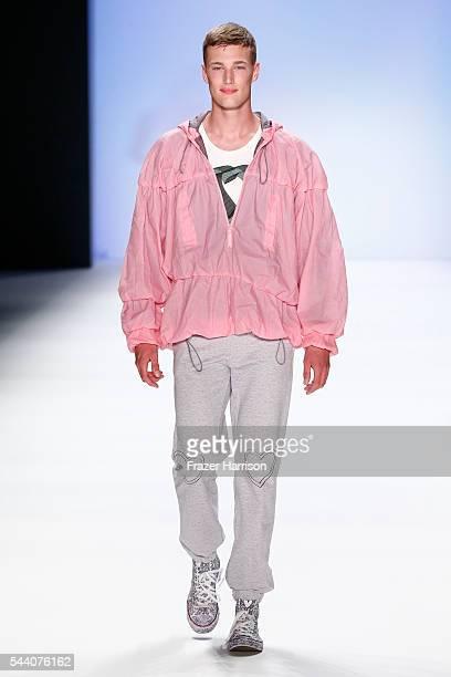 A model walks the runway at the Julian Zigerli show during the MercedesBenz Fashion Week Berlin Spring/Summer 2017 at Erika Hess Eisstadion on July 1...