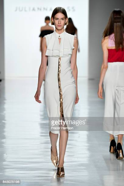 A model walks the runway at the Julianna Bass fashion show during New York Fashion Week The Shows at Gallery 3 Skylight Clarkson Sq on September 9...