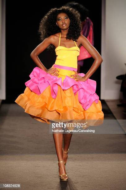 Model walks the runway at the Julien Fournie fashion show during Paris Haute Couture Fashion Week on January 25, 2011 in Paris, France.