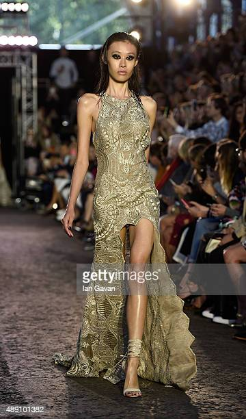 A model walks the runway at the Julien Macdonald show during London Fashion Week Spring/Summer 2016 on September 19 2015 in London England