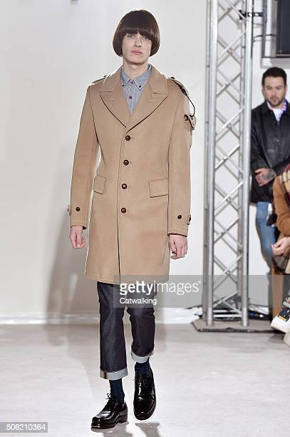 A model walks the runway at the Junya Watanabe Autumn Winter 2016 fashion show during Paris Menswear Fashion Week on January 22 2016 in Paris France