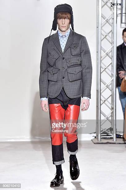 Model walks the runway at the Junya Watanabe Autumn Winter 2016 fashion show during Paris Menswear Fashion Week on January 22, 2016 in Paris, France.