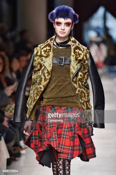 Model walks the runway at the Junya Watanabe Autumn Winter 2017 fashion show during Paris Fashion Week on March 4, 2017 in Paris, France.