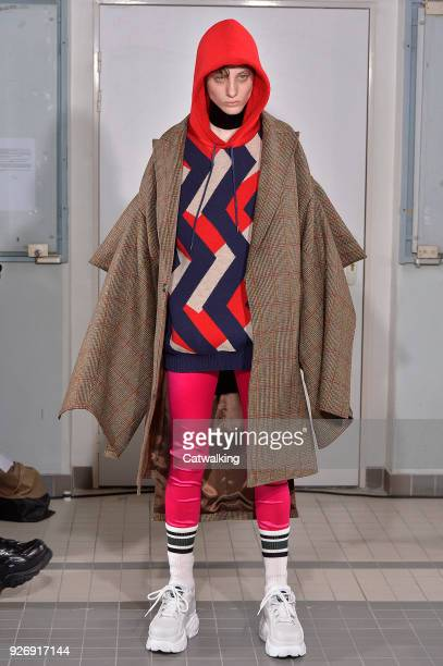 Model walks the runway at the Junya Watanabe Autumn Winter 2018 fashion show during Paris Fashion Week on March 3, 2018 in Paris, France.
