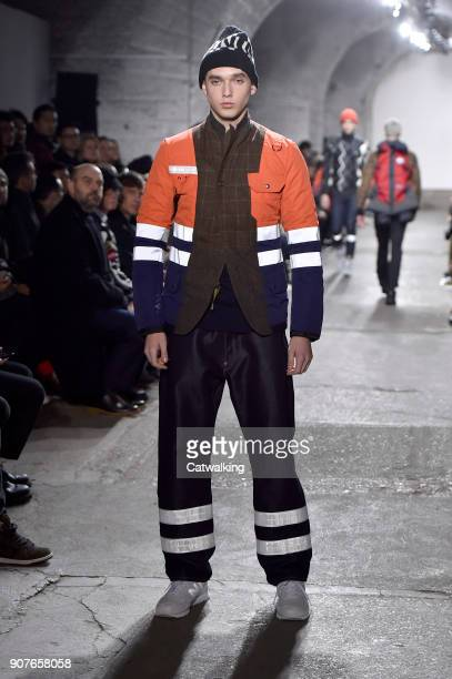 A model walks the runway at the Junya Watanabe Man Autumn Winter 2018 fashion show during Paris Menswear Fashion Week on January 19 2018 in Paris...