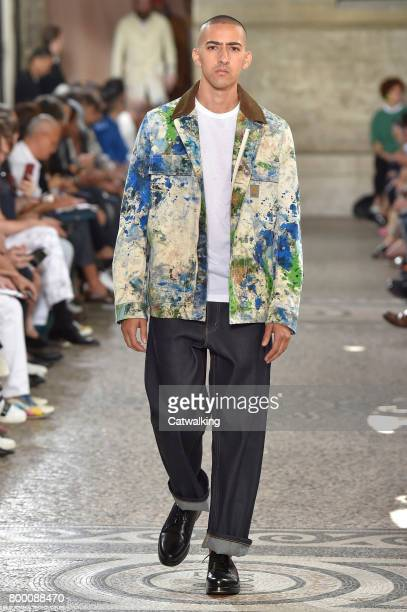 A model walks the runway at the Junya Watanabe Man Spring Summer 2018 fashion show during Paris Menswear Fashion Week on June 23 2017 in Paris France