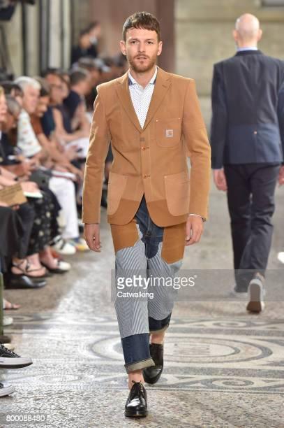 A model walks the runway at the Junya Watanabe Man Spring Summer 2018 fashion show during Paris Menswear Fashion Week on June 23 2017 in Paris France