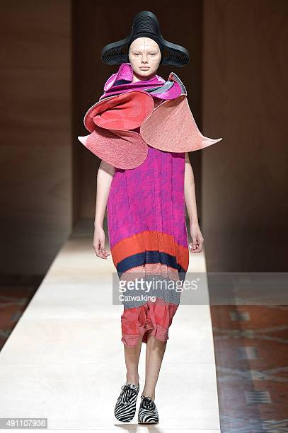 A model walks the runway at the Junya Watanabe Spring Summer 2016 fashion show during Paris Fashion Week on October 3 2015 in Paris France