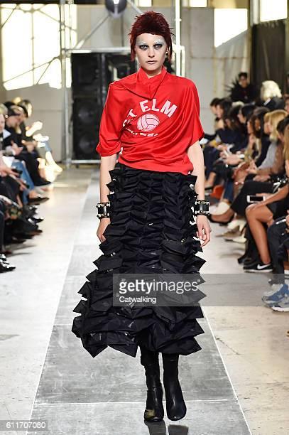 Model walks the runway at the Junya Watanabe Spring Summer 2017 fashion show during Paris Fashion Week on October 1, 2016 in Paris, France.