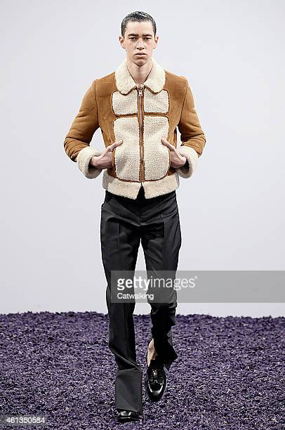Model walks the runway at the J.W. Anderson Autumn Winter 2015 fashion show during London Menswear Fashion Week on January 11, 2015 in London, United...