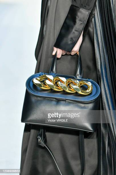Model walks the runway at the JW Anderson Ready to Wear Fall/Winter 2020-2021 fashion show during London Fashion Week on February 17, 2020 in London,...