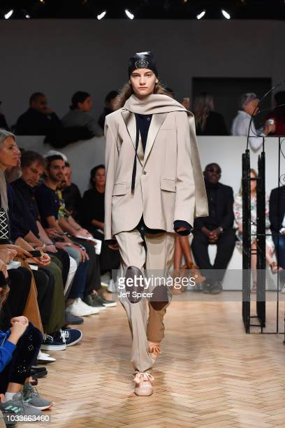 Model walks the runway at the JW Anderson show during London Fashion Week September 2018 on September 15, 2018 in London, United Kingdom.