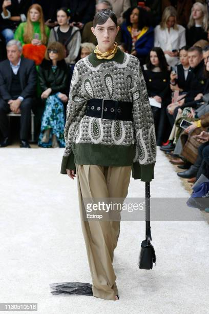 A model walks the runway at the JW Anderson show during London Fashion Week February 2019 at the Yeomanry House on February 18 2019 in London England