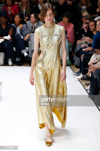 Model walks the runway at the JW Anderson show during London Fashion Week September 2019 on September 16, 2019 in London, England.