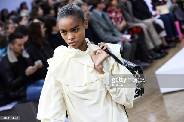 A model walks the runway at the JW Anderson show during London Fashion Week February 2018 at Yeomanry House on February 17 2018 in London England