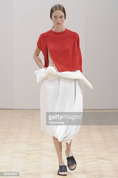 Model walks the runway at the JW Anderson Spring Summer 2014 fashion show during London Fashion Week on September 14, 2013 in London, United Kingdom.