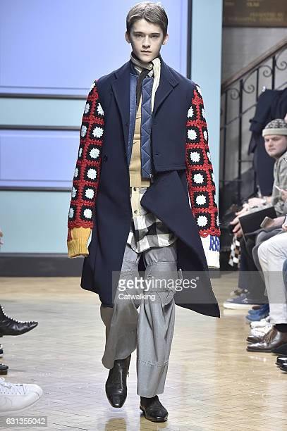 Model walks the runway at the J.W.Anderson Autumn Winter 2017 fashion show during London Menswear Fashion Week on January 8, 2017 in London, United...