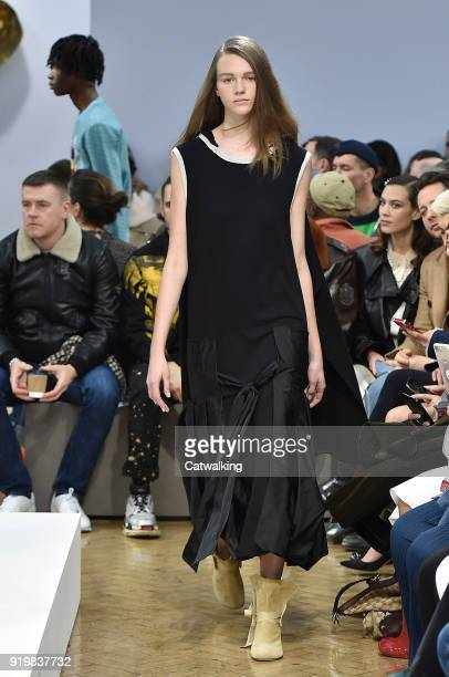 Model walks the runway at the J.W.Anderson Autumn Winter 2018 fashion show during London Fashion Week on February 17, 2018 in London, United Kingdom.