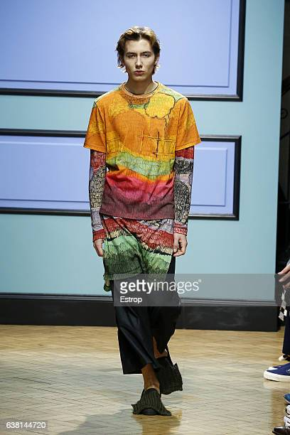 Model walks the runway at the J.W.Anderson designed by Jonathan Anderson show during London Fashion Week Men's January 2017 collections at BFC Show...