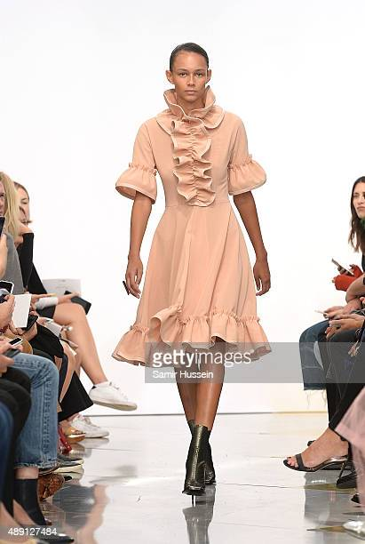 A model walks the runway at the JWAnderson show during London Fashion Week Spring/Summer 2016 on September 19 2015 in London England