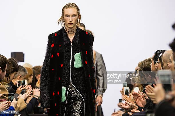 A model walks the runway at the JWAnderson show during The London Collections Men AW16 at Yeomanry House on January 10 2016 in London England