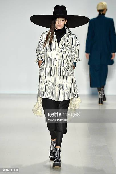 A model walks the runway at the KAAL ESUKTAE fashion show during MercedesBenz Fashion Week Fall 2014 at Lincoln Center on February 11 2014 in New...