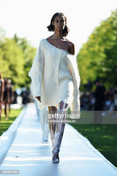 A model walks the runway at the Kanye West Yeezy Season 4 fashion show on September 7 2016 in New York City