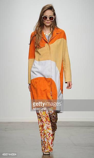 Model walks the runway at the Karen Walker fashion show during Mercedes-Benz Fashion Week Spring 2015 at Pier 59 on September 8, 2014 in New York...