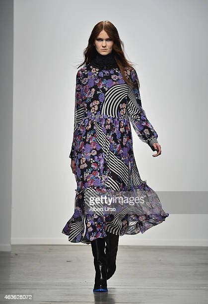 A model walks the runway at the Karen Walker runway show during MercedesBenz Fashion Week Fall 2015 at Pier 59 on February 16 2015 in New York City
