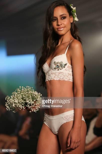 A model walks the runway at the Karishma Jumani show during India Intimate Fashion Week 2017 at Hotel Leela on March 18 2017 in Mumbai India