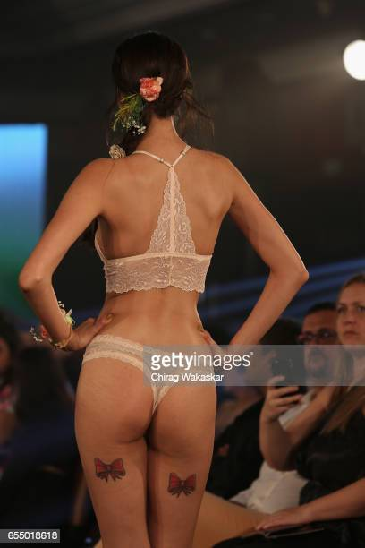 A model walks the runway at the Karishma Jumani show during India Intimate Fashion Week 2017 at Hotel Leela on March 18 2017 in Mumbai India